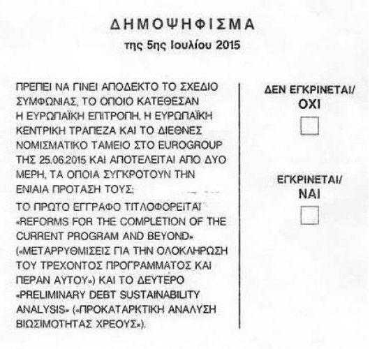 Greek referendum ballot