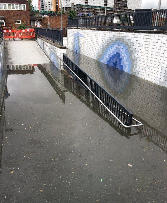 Canning Town subway flooded