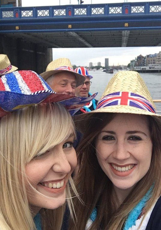 Sophie Bridge and her friend on the Golden Jubilee boat on her way to the patrons lunch. Credit: Sophie Bridge