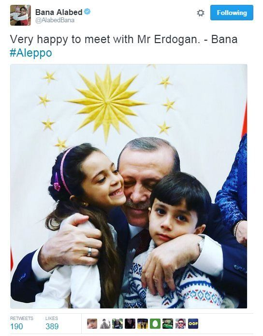 "A tweet from Bana saying: ""Very happy to meet with Mr Erdogan"""