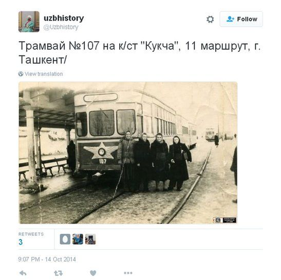 """Tweet of a historic picture of a Tashkent tram, with the message: """"Tram No 7 at the Kukcha terminus, route 11, Tashkent."""""""