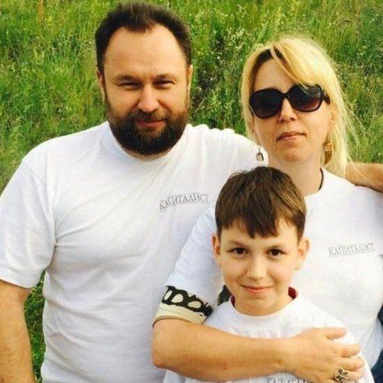 Irina Slavina with her husband and their friend Irina's son Matvei