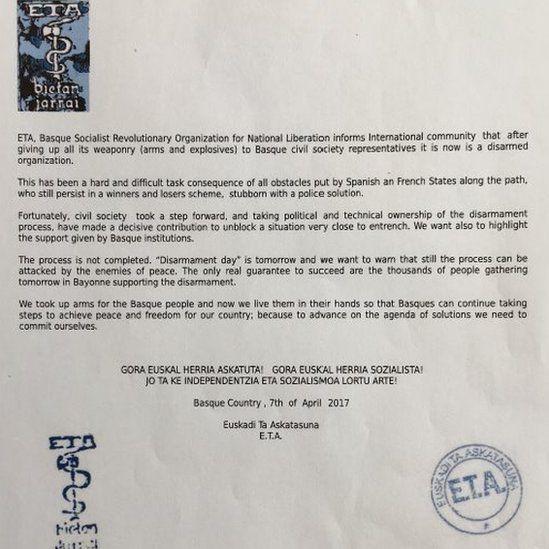 Eta: Basque separatists plan to unilaterally disarm on Saturday