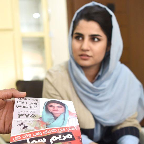 Maryam Sama checking her 2018 election campaign leaflets