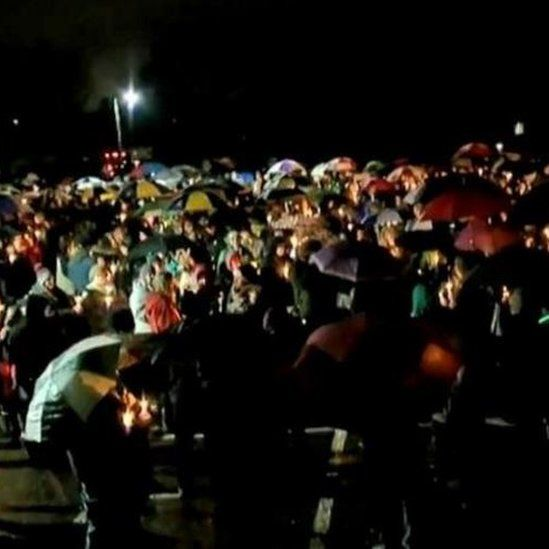 One vigil saw hundreds of attendees gather in the near-freezing rain.