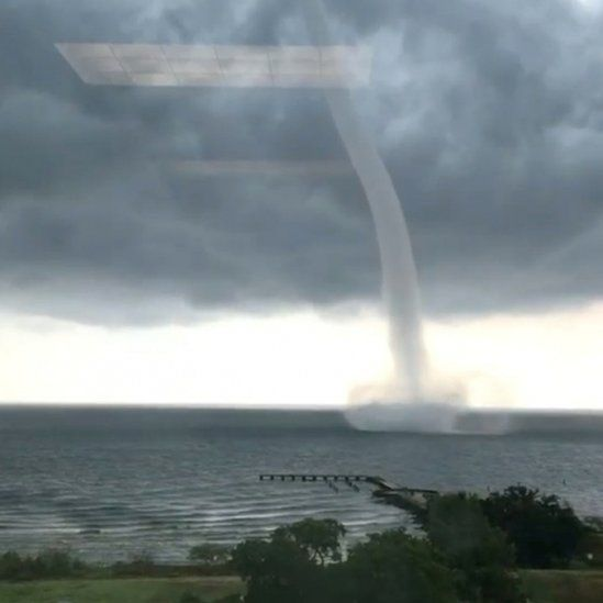 A waterspout was spotted over Lake Pontchartrain