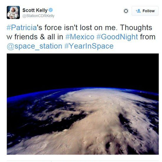 Tweet from Nasa's Scott Kelly @StationCDRKelly