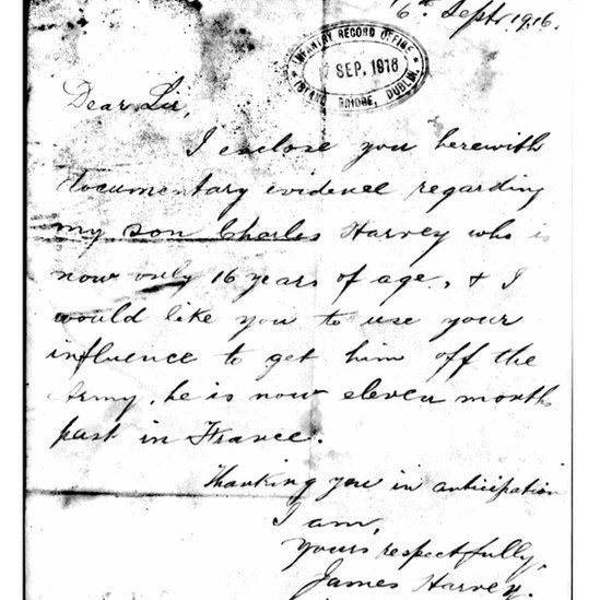 Letter from James Harvey to the Infantry Record Office in Dublin