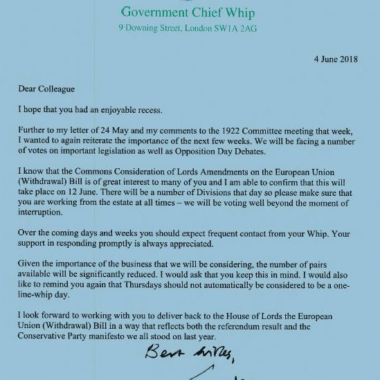 Julian Smith letter to MPs