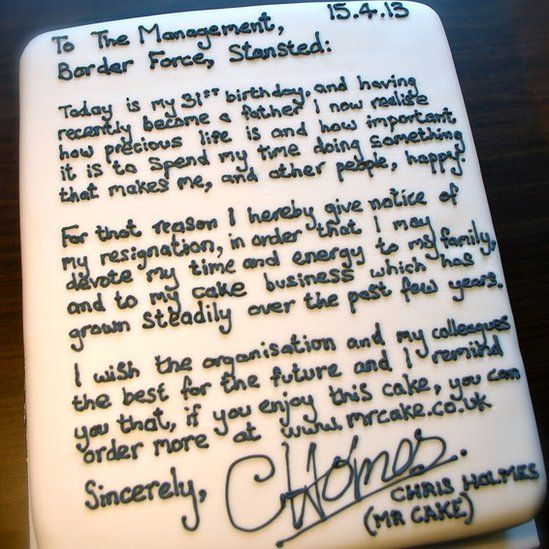 resignation cake baked by Chris Holmes.