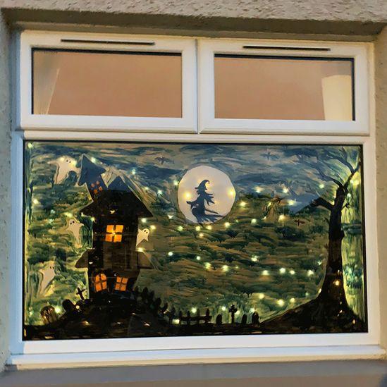 Painted window in Fife