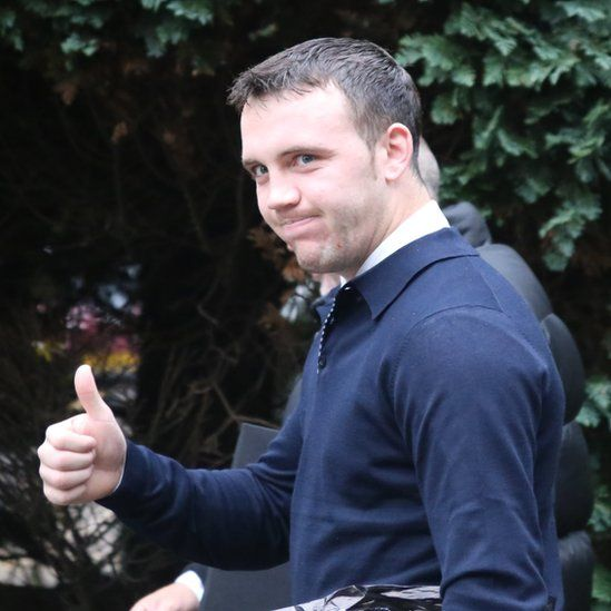 Fred Evans outside court