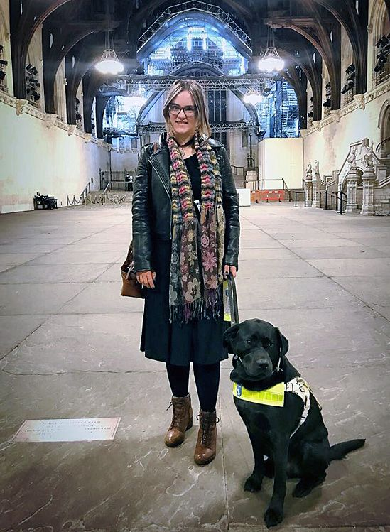 Kirsty with Bass at Westminster where she gave a speech at an event for Esme's Umbrella - a charity that raises awareness about Charles Bonnet Syndrome - November 2017