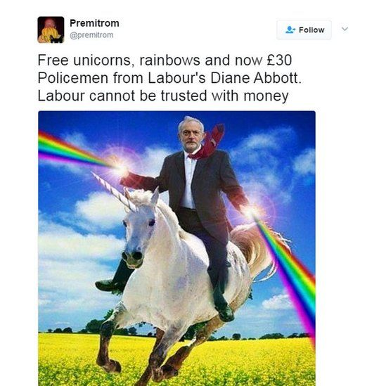 Free unicorns, rainbows and now £30 Policemen from Labour's Diane Abbott. Labour cannot be trusted with money