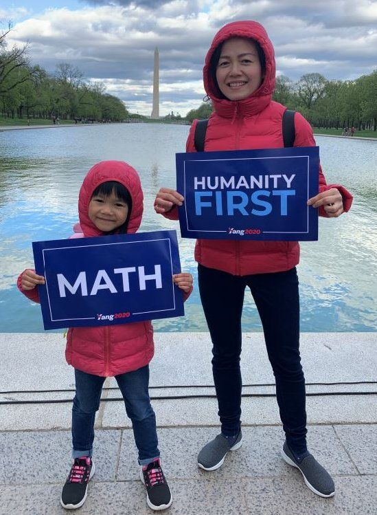 Chinese immigrant Allison Qiu brought her six-year-old daughter to a Yang rally
