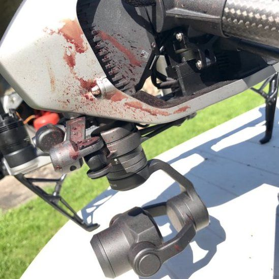 Image of bloodied drone by James Andrews