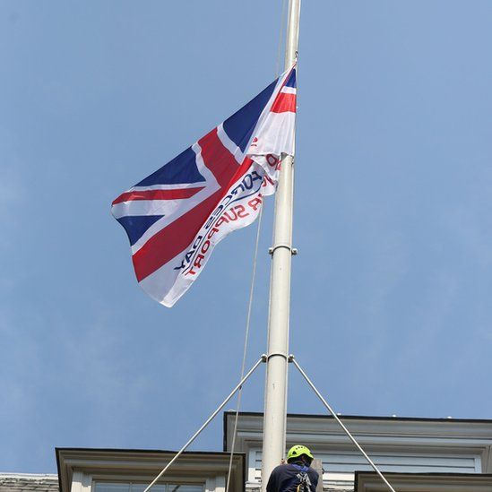 The Armed Forces Day flag above Downing Street
