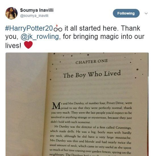 #HarryPotter20 it all started here. Thank you, @jk_rowling, for bringing magic into our lives! ❤️