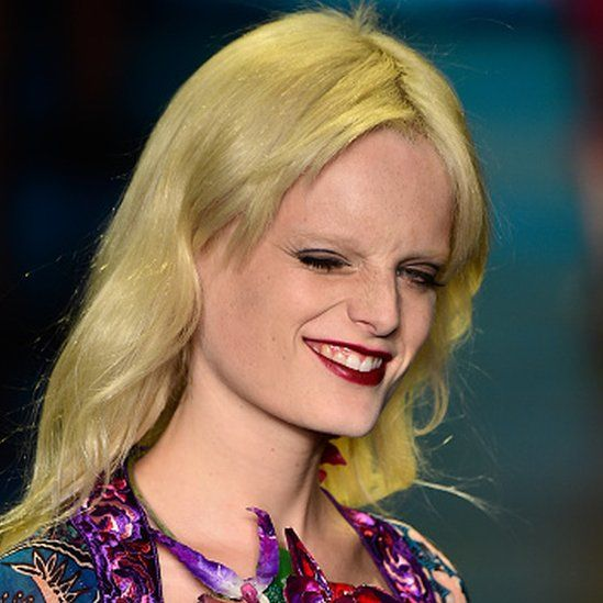 Model Hanne Gaby Odiele walks the runway wearing Anna Sui Spring 2015 during New York Fashion Week (16 September 2015)