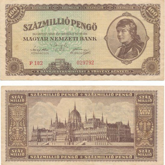 Hungarian banknote at 100 million pengo, year 1946