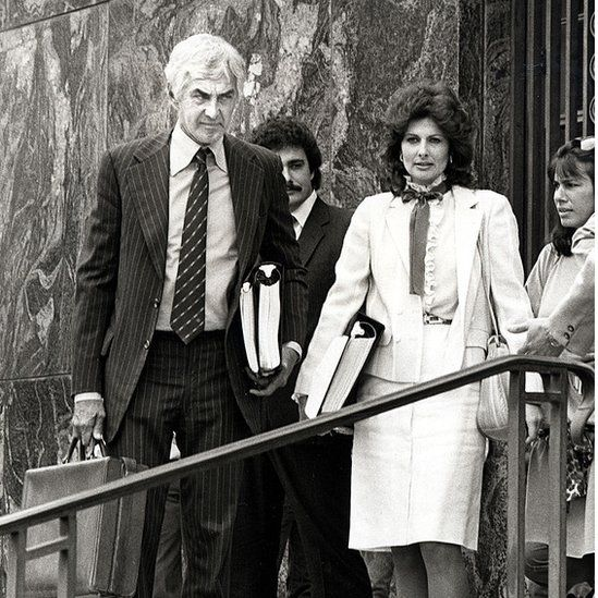 DeLorean and his wife outside the court during his trial for drug trafficking