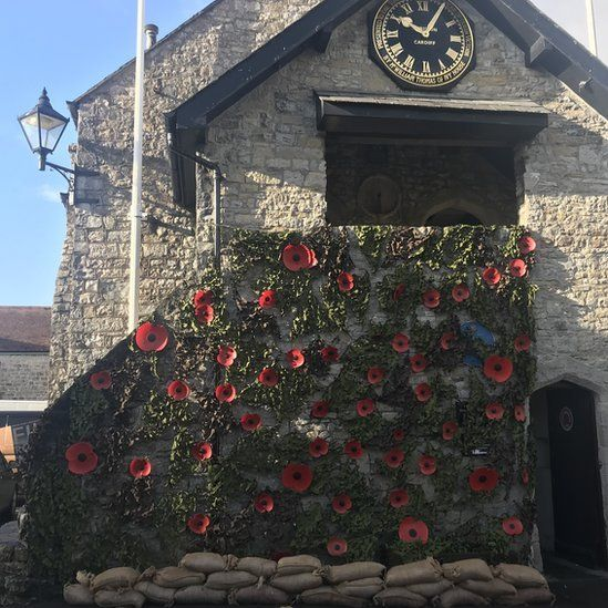 A weeping wall of poppies at Llantwit Major, Vale of Glamorgan
