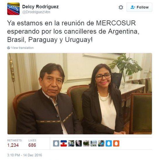 Delcy Rodriguez and Bolivian Foreign Minister David Choquehuanca