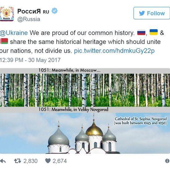 Screen grab of tweet by @Russia