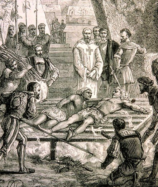 Engraving from 1800 showing torture of Cuauhtemoc in Mexico