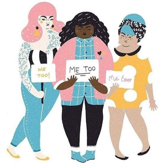"""Illustration of three women holding signs which read """"Me Too"""""""