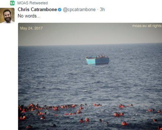 Images posted by Moas showed dozens of people in the water some distance from their boat