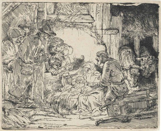 An etching by Rembrandt called The Adoration of the Shepherds