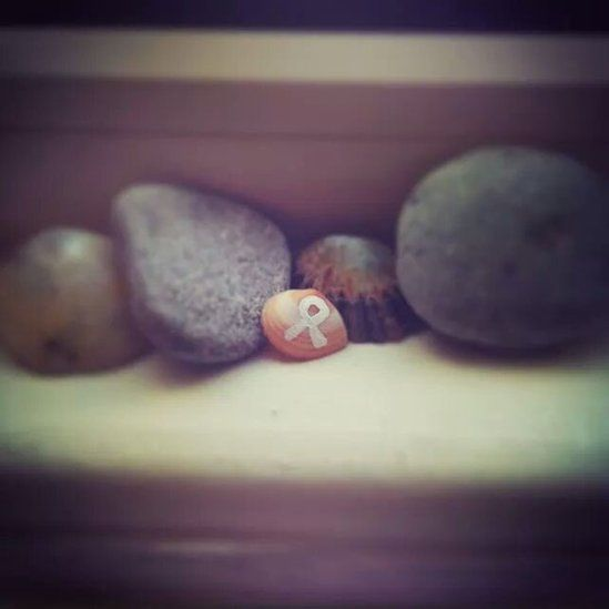 Stones on a shelf