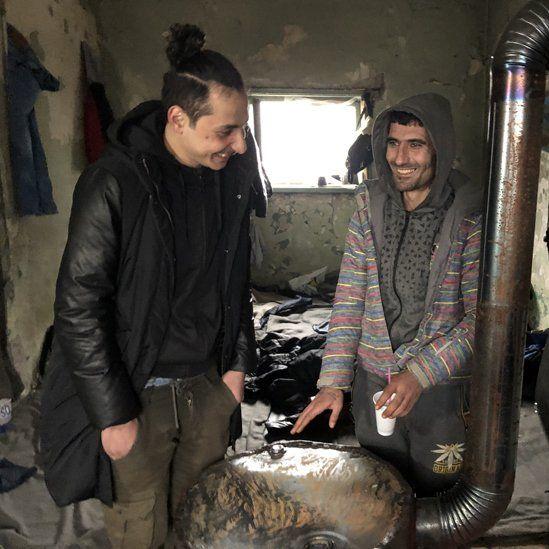Migrants living rough near Subotica