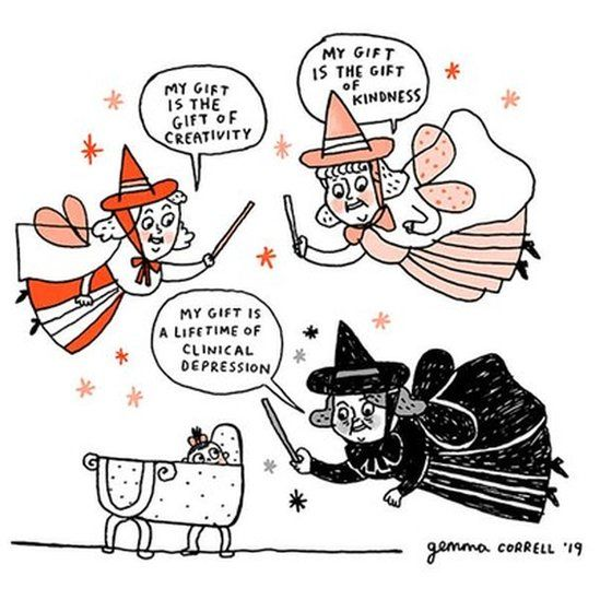 Gemma Correll's version of Sleeping Beauty see three fairies giving baby Aurora a gift - one of them, wearing black, is seen giving her the gift of a lifetime of clinical depression