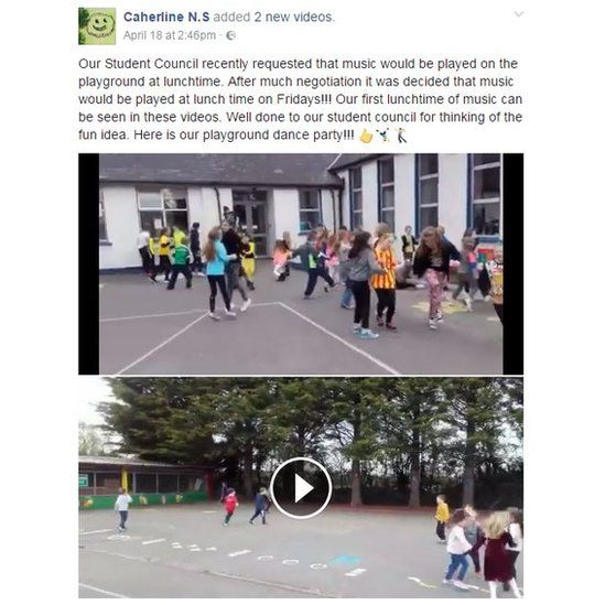 Our Student Council recently requested that music would be played on the playground at lunchtime. After much negotiation it was decided that music would be played at lunch time on Fridays!!! Our first lunchtime of music can be seen in these videos. Well done to our student council for thinking of the fun idea. Here is our playground dance party