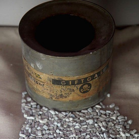 Zyklon B canister with contents