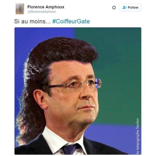 Pic of Hollande with big hair