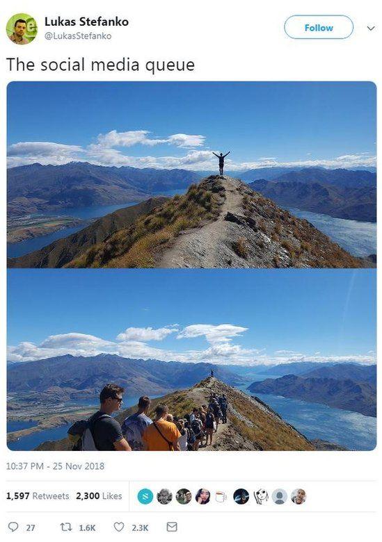 Photo of tweet of Roy's Peak in New Zealand