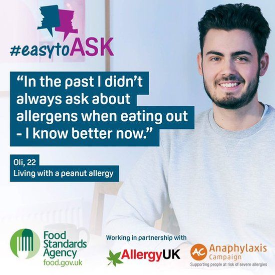Oli has worked with groups like the Food Standards Agency on raising awareness of severe allergies in young people.