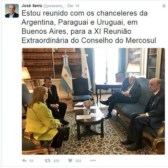 """Jose Serra tweets: """"I'm meeting the foreign ministers of Argentina, Paraguay and Uruguay in Buenos Aires for the 11th extraordinary meeting of the Mercosur council."""