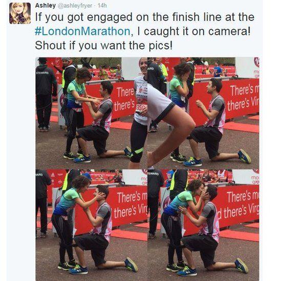 Photos of London marathon proposal