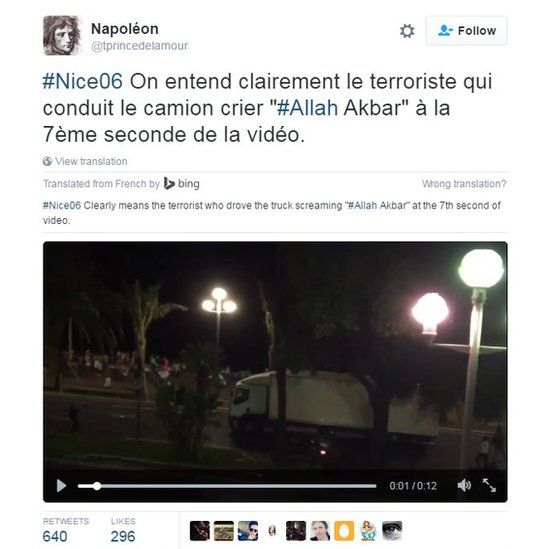 "#Nice06 The terrorist who drove the truck screamed ""#Allah Akbar"" at the 7th second of video."