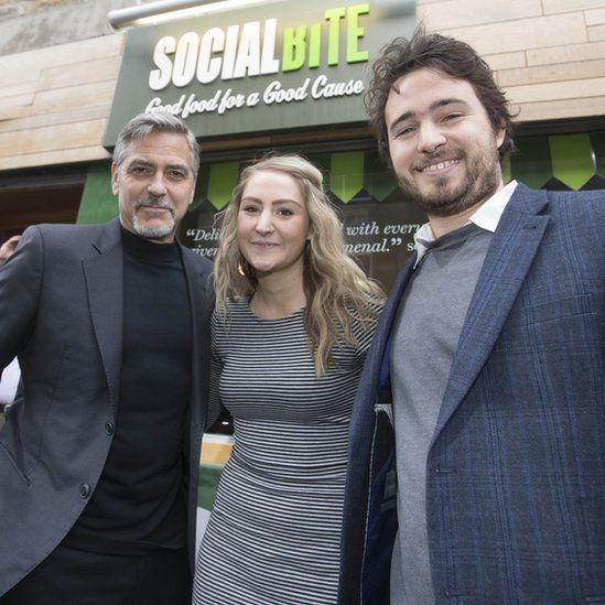 George Clooney with Social Bite owners Alice Thompson and Josh Littlejohn