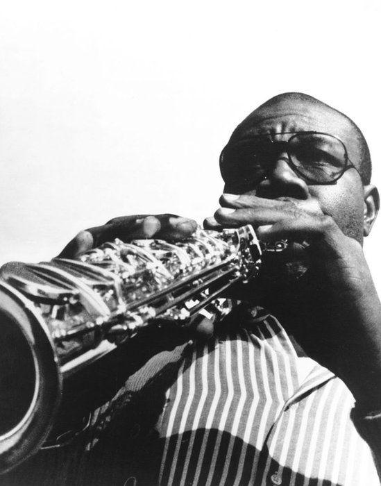Manu Dibango playing the saxophone