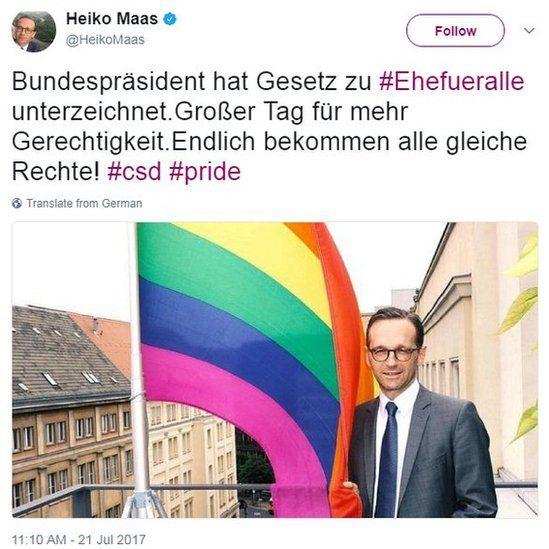 Heiko Maas tweet, 21 Jul 17