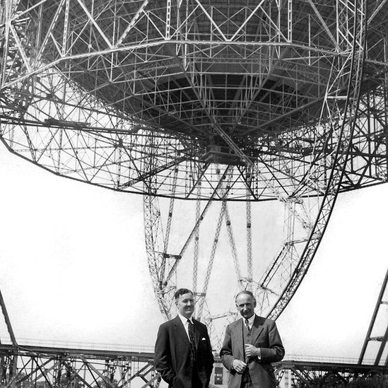 Professor Bernard Lovell (right) with Mr HC Husband, the consulting engineer who designed and constructed the Lovell Radio Telescope at the Jodrell Bank.