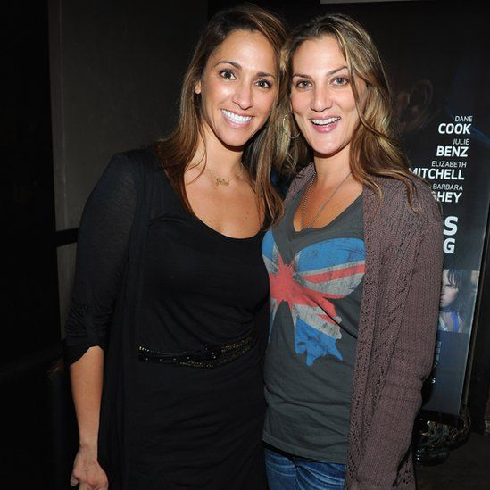 Actresses Julia Wolov (L) and Dana Goodman in Hollywood in 2011