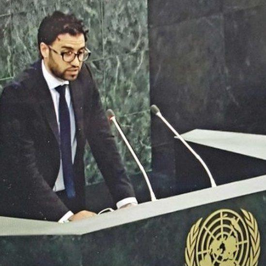 Karim Saafi speaks at a UN plinth