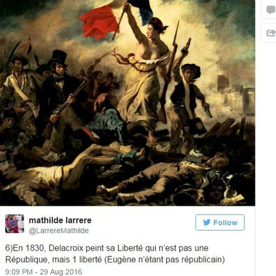 """Mathilde Larrere said Delacroix's painting was not of """"a Republic"""" but of Liberty"""